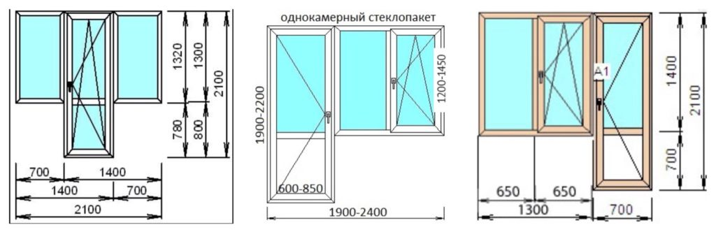 Размеры дверей на балкон